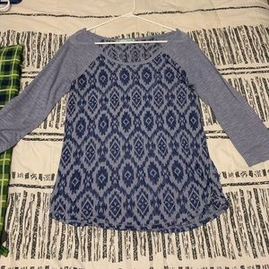 3/4 sleeve patterned top